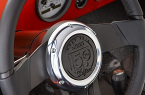 The center of the custom steering wheel, stamped with the specia