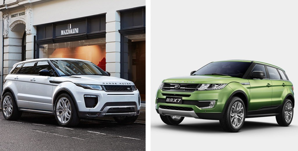 Китайскую копию Range Rover Evoque запретили продавать из-за плагиата